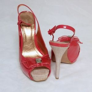 BCBG Peach Patent Generation Fabric Heels